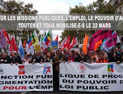 22 mars : Tous et toutes en grève pour le service public et les salaires !