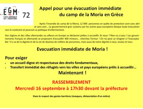 Appel pour l'évacuation immédiate de la Moria